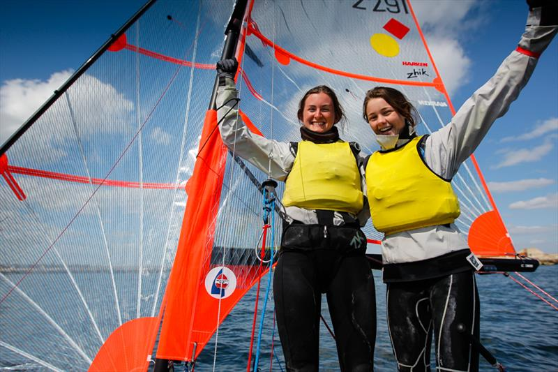 Ruth Allan and Alice Masterman win the girl's 29er title at the RYA Youth National Championships - photo © Paul Wyeth / RYA