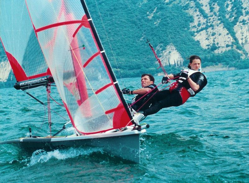 Dave Hall sailing with daughter Laura during the 29er Worlds in 2000 at Lake Garda - photo © 29er Worlds