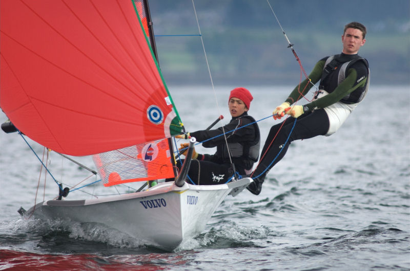 Bleddyn Mon and Nick Redding win the 29er class at the RYA Volvo Youth Nationals