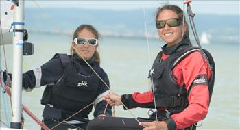 Nadja Horwitz and Sofia Middleton (CHI) lead the Ladies 420 worlds at Lake Neusiedl, Austria into the final day