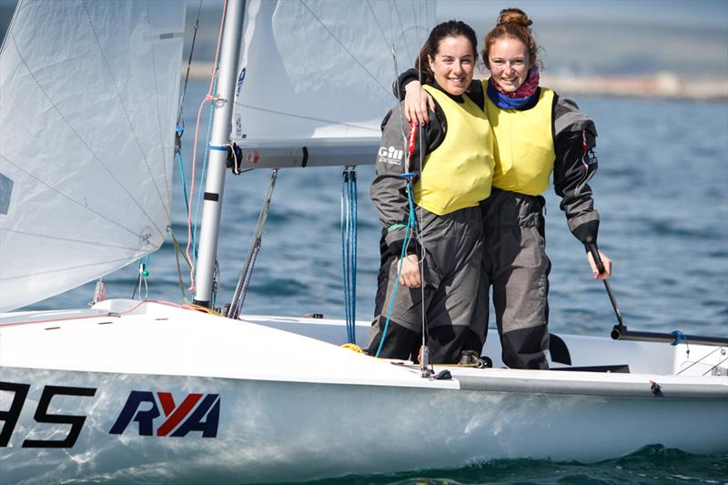 Sarah Norbury and Mari Davies win the girl's 420 class at the RYA Youth National Championships - photo © Paul Wyeth / RYA
