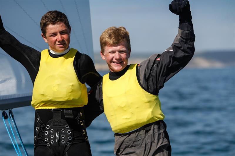 Tim Riley and James Taylor win the boy's 420 title at the RYA Youth National Championships - photo © Paul Wyeth / RYA