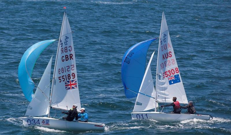 Britain's Archie Penn and Ben Warrington dicing for the finish in the Silver fleet with Australians Lachlan Nairn and Matthew van Riel – 420 World Championship photo copyright Bernie Kaaks taken at Fremantle Sailing Club and featuring the 420 class