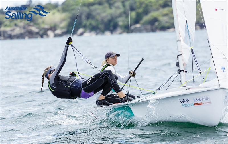 Carrie Smith and Jaime Ryan in the 470 at Sail Sydney 2016 - photo © Robin Evans