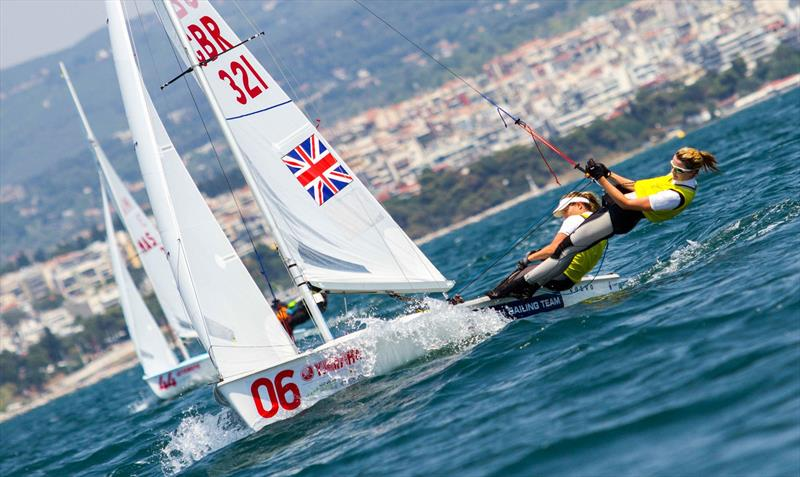 Hannah Mills and Saskia Clark (GBR) at the 470 Worlds on day 2 - photo © Nikos Alevromytis / International 470 Class