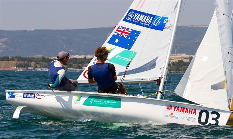 Mathew BELCHER and Will RYAN (AUS) on day 3 at the 470 Worlds - photo © Nikos Alevromytis / International 470 Class