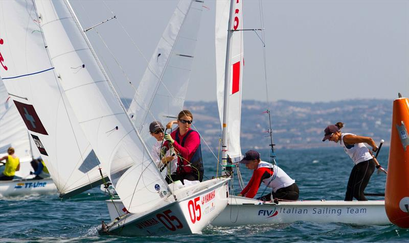 Linda FAHRNI and Maja SIEGENTHALER (SUI) chase Elena BERTA and Sveva CARRARO (ITA) on day 4 at the 470 Worlds - photo © Nikos Alevromytis / International 470 Class