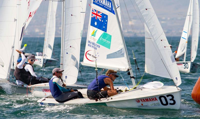 Mathew BELCHER and Will RYAN (AUS) on day 4 at the 470 Worlds - photo © Nikos Alevromytis / International 470 Class