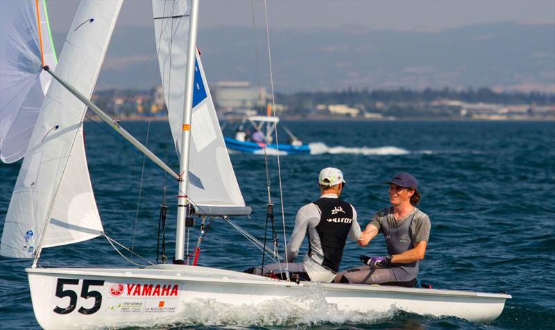 Paul SNOW-HANSEN and Daniel WILLCOX (NZL) on day 4 at the 470 Worlds - photo © Nikos Alevromytis / International 470 Class
