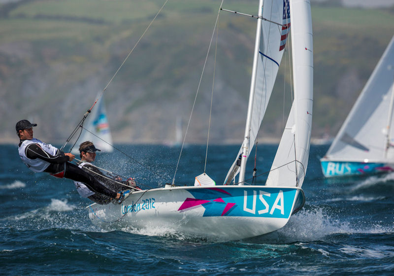 Stuart McNay and Graham Biehl (USA) on day five of the London 2012 Olympic Sailing Competition
