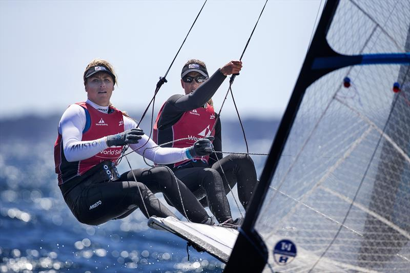 Charlotte Dobson & Saskia Tidey claim 49erFX bronze at World Cup Hyères - photo © Richard Langdon / British Sailing Team