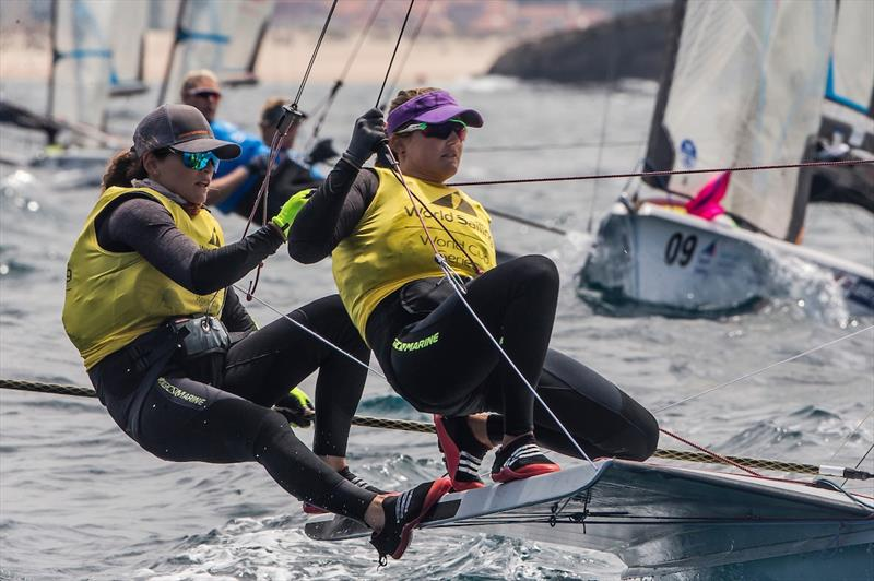 Martine Grael and Kahena Kunze of Brazil in the 49erFX on day 4 of the World Cup Series Final in Santander - photo © Jesus Renedo / Sailing Energy / World Sailing