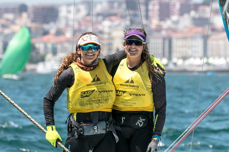 Rio 2016 gold medallists Martine Grael and Kahena Kunze continue to dominate on day 5 of the World Cup Series Final in Santander - photo © Jesus Renedo / Sailing Energy / World Sailing