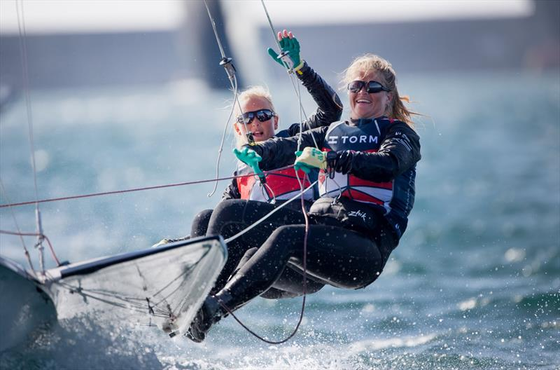 FX gold for Denmark's Jena Hansen and Katja Iversen at the 49er Worlds in Portugal - photo © Maria Muina / www.sailingshots.es