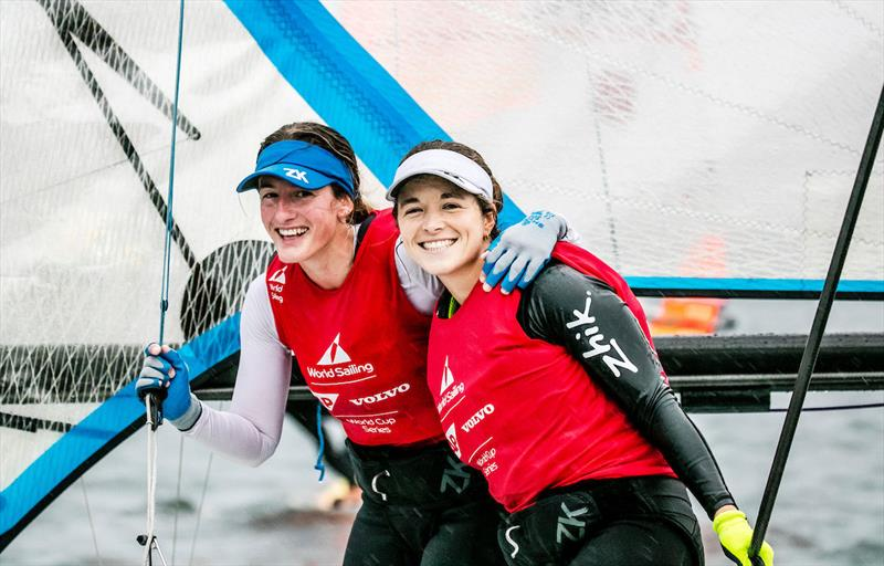 49er FX Champions Victoria Travascio and Maria Branz (ARG) at 2017-18 World Cup Series in Gamagori, Japan photo copyright Jesus Renedo / Sailing Energy / World Sailing taken at  and featuring the 49er FX class