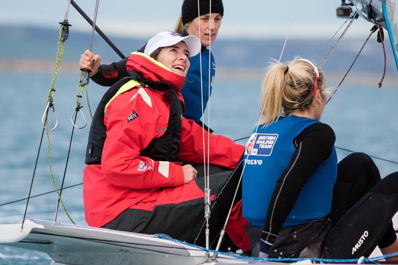 Dame Katherine sailing with Charlotte Dobson and Saskia Tidey - photo © Tom Gruitt / imagecomms