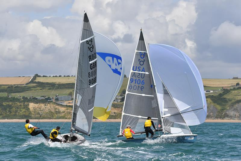 Martin and Lowry(9106) prepare to gybe ahead of Smith and Needham on the final day of the SAP 505 Worlds at Weymouth - photo © Christophe Favreau / www.christophefavreau.com