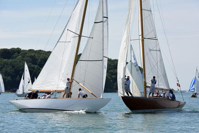 8 metres Helen and Athena neck and neck on day 1 at Charles Stanley Direct Cowes Classics Week - photo © Rick Tomlinson / www.rick-tomlinson.com