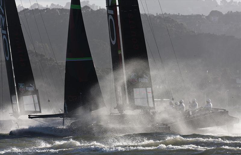 ORACLE Racing smokes San Francisco bay photo copyright Guilain Grenier / ORACLE Racing taken at  and featuring the AC45 class