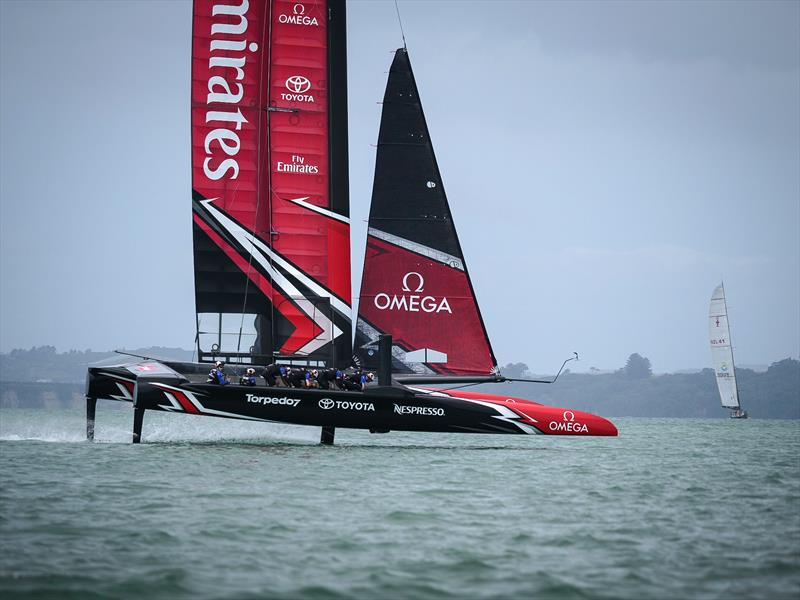 Emirates Team New Zealand launch their race boat for the 35th America's Cup - photo © Hamish Hooper / ETNZ