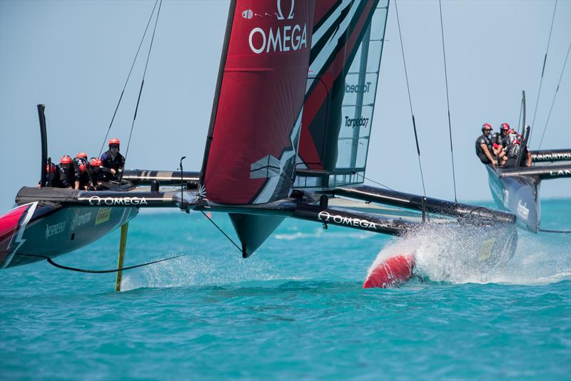 Land Rover BAR crash into Emirates Team New Zealand during practice racing in Bermuda - photo © Hamish Hooper / Emirates Team New Zealand