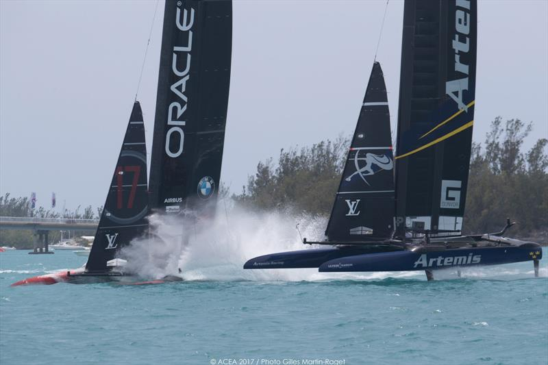 Artemis Racing beat ORACLE TEAM USA on day 7 at the 35th America's Cup - photo © ACEA 2017 / Gilles Martin-Raget