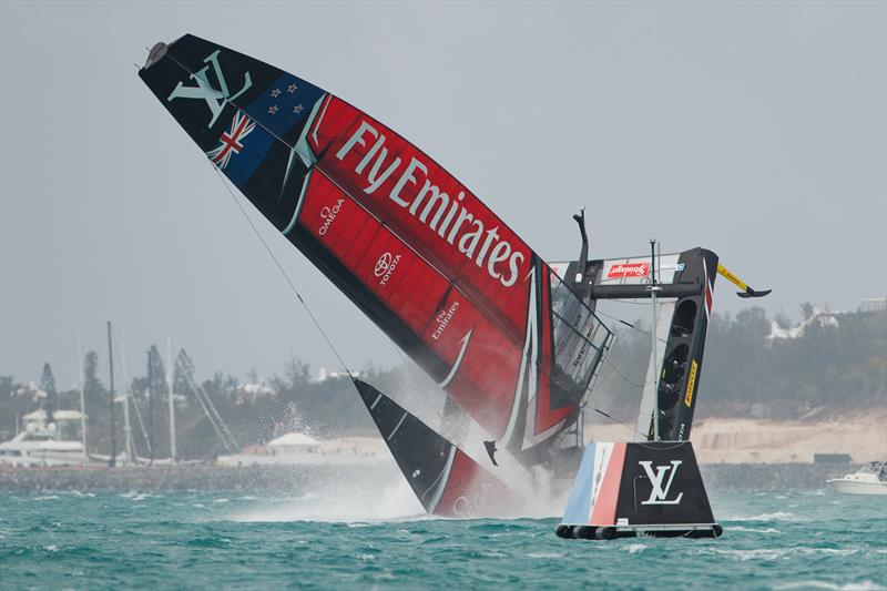 Emirates Team New Zealand capsize on the second day of the Louis Vuitton America