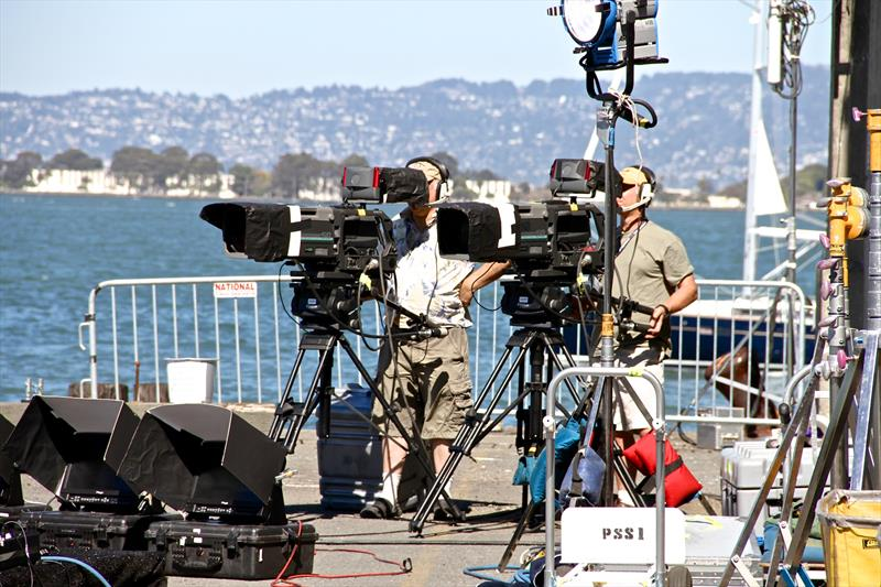 A very small part of the massive broadcast infrastructure required for America's Cup coverage, ashore and afloat photo copyright Richard Gladwell taken at Takapuna Boating Club and featuring the AC50 class