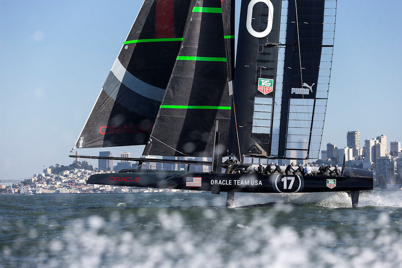 ORACLE TEAM USA's AC72 foiling on San Francisco Bay