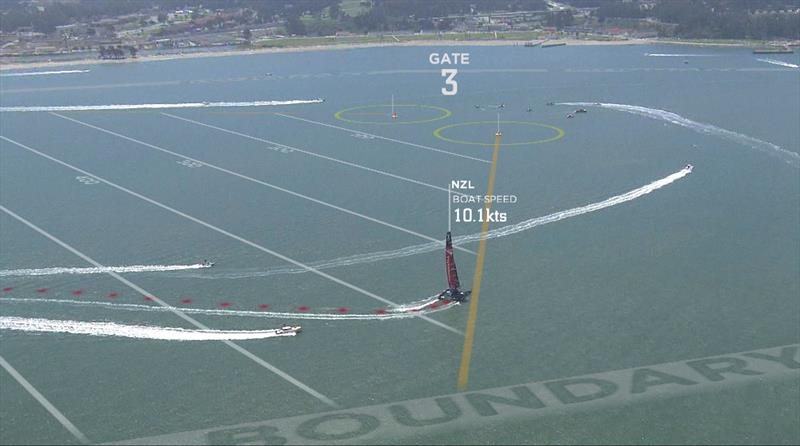 Emirates Team New Zealand tacking with lay line, trail, buoy position and boundary all clearly visible - photo © ACEA