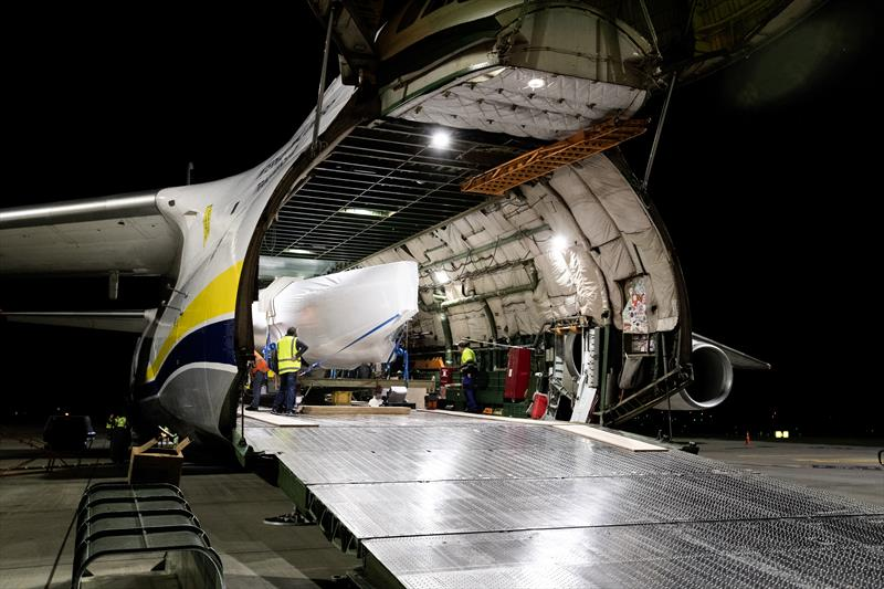 INEOS TEAM UK's RB2 onboard the Antonov Cargo Plane at Auckland Airport  - photo © Cameron Gregory