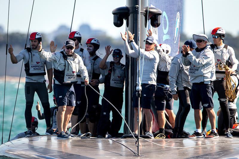 The New York Yacht Club American Magic team applaud the Luna Rossa Prada Pirelli team after the PRADA Cup Semi Final - photo © Sailing Energy / American Magic