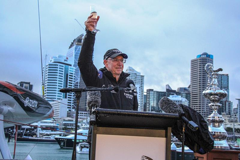Sir Stephen Tindall Chair ETNZ Board proposes a toast at the Emirates Team New Zealand launch the world's first AC75, Auckland, September 6, - photo © Richard Gladwell