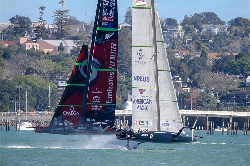 Emirates Team NZ crosses American Magic - Waitemata Harbour - September 21,2020 - 36th America's Cup - photo © Richard Gladwell / Sail-World.com