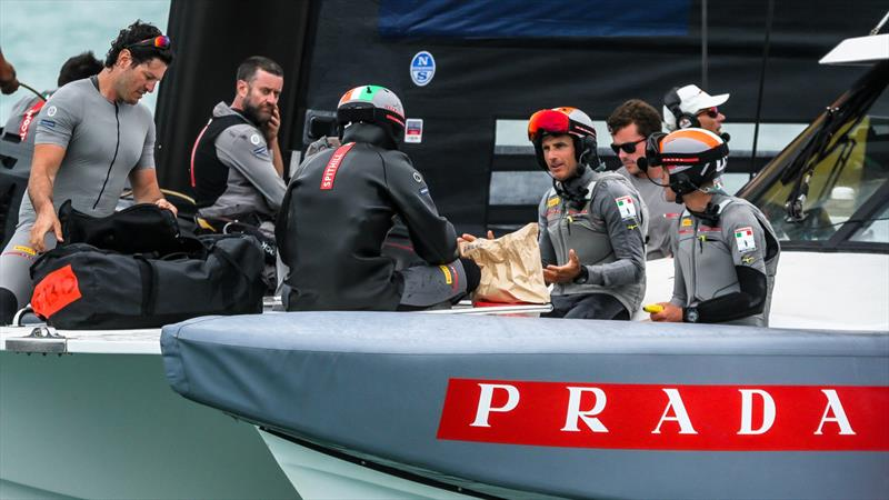 Francesco Bruni makes a point to Jimmy Spithill over afternoon tea - Luna Rossa - Prada Cup Finals - Day 2 - February 14, 2021 - America's Cup 36 - Course E - photo © Richard Gladwell / Sail-World.com
