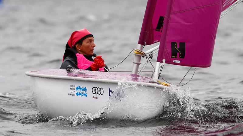 Spanish Hansa 303 sailor Violeta del Reino during the Para World Sailing Championships in Kiel - photo © Otto Kasch / www.segel-bilder.de