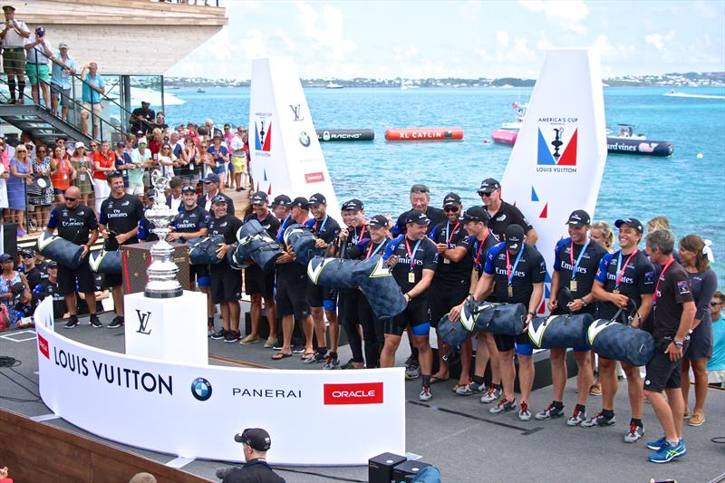 Emirates Team New Zealand about to uplift the trophy - there was no presentation/handover by the previous holder - 35th America's Cup, June 26, 2017, Bermuda photo copyright Richard Gladwell taken at Royal New Zealand Yacht Squadron and featuring the ACC class