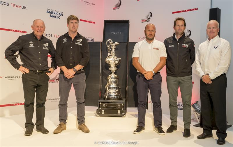 Grant Dalton (left) with the four skippers at the America's Cup Overture in Cowes - photo © Carlo Borlenghi