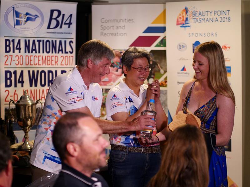 Steve Miller, 1st Handicap receiving the local gin during the B14 Worlds prize giving - photo © Steve Miller