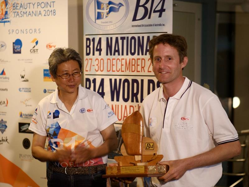 Toby Lewis receiving the Paul Smith Memorial Trophy for best international crew during the B14 Worlds prize giving - photo © Steve Miller