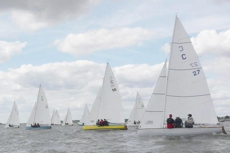 Brightlingsea One Design fleet on day 2 at Learning & Skills Solutions Pyefleet Week - photo © Rebecca Bines