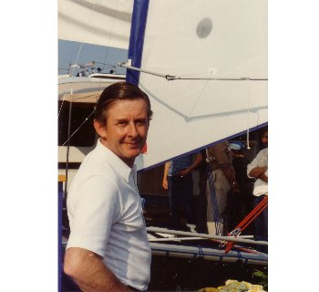 Jon Montgomery at the launch of the Catapult class at the Southampton Boat Show in 1982