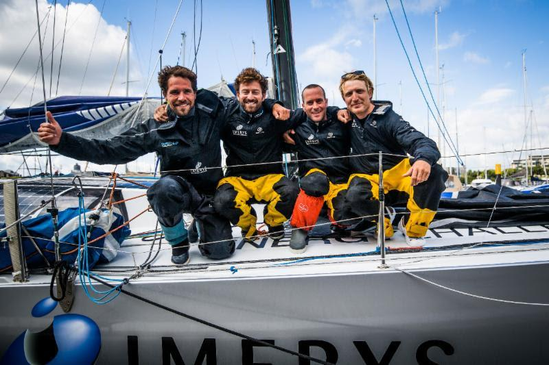 Phil Sharp's Class40 finishes in second place in the Rolex Fastnet Race (l-r) Robin Marais, Phil Sharp, Pablo Santurde, Pietro Luciani - photo © ELWJ Photography / RORC