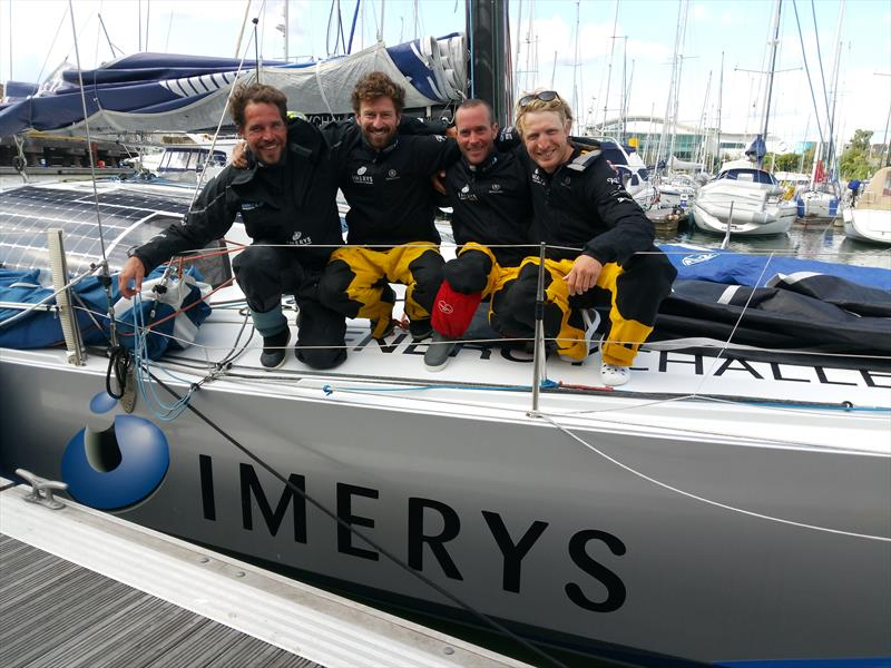 Phil Sharp's Class40 finishes in second place in the Rolex Fastnet Race (l-r) Robin Marais, Phil Sharp, Pablo Santurde, Pietro Luciani - photo © www.philsharpracing.com
