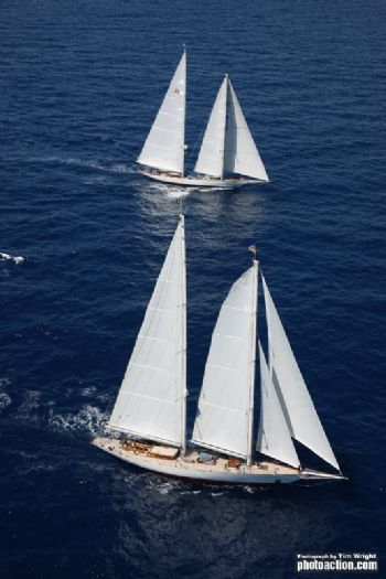 The magnificent schooners Windrose of Amsterdam and Adela at the start of the RORC Caribbean 600