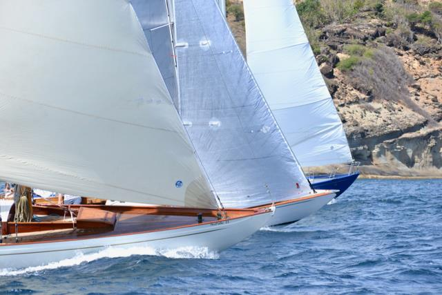 Close start of the Single-Handed Race at the Antigua Classic Yacht Regatta - photo © Jan Hein