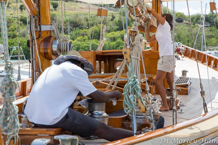 Primping and polishing erupts dockside at the Antigua Classic Yacht Regatta - photo © Di Morley-Ham