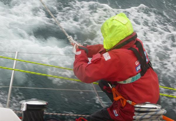 Chris Paxton ties a rolling hitch on Switzerland Clipper during Race 14 from New York to Derry-Londonderry - photo © Clipper Ventures