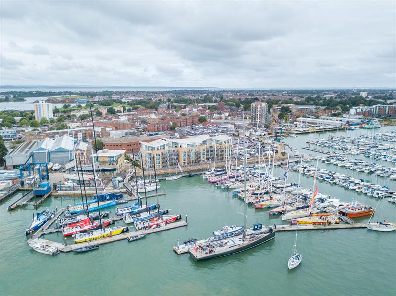 The Clipper Race and Volvo Ocean Race Fleets side-by-side in Gosport photo copyright Roster taken at  and featuring the Clipper Ventures class