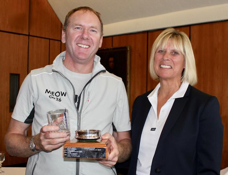 Chris Charlesworth, skipper of Meow, is presented with the Contessa 26 National Championship Trophy by Royal Southern Yacht Club Commodore, Karen Henderson-Williams at the Royal Southern Yacht Club September Regatta - photo © RSrnYC / Louay Habib